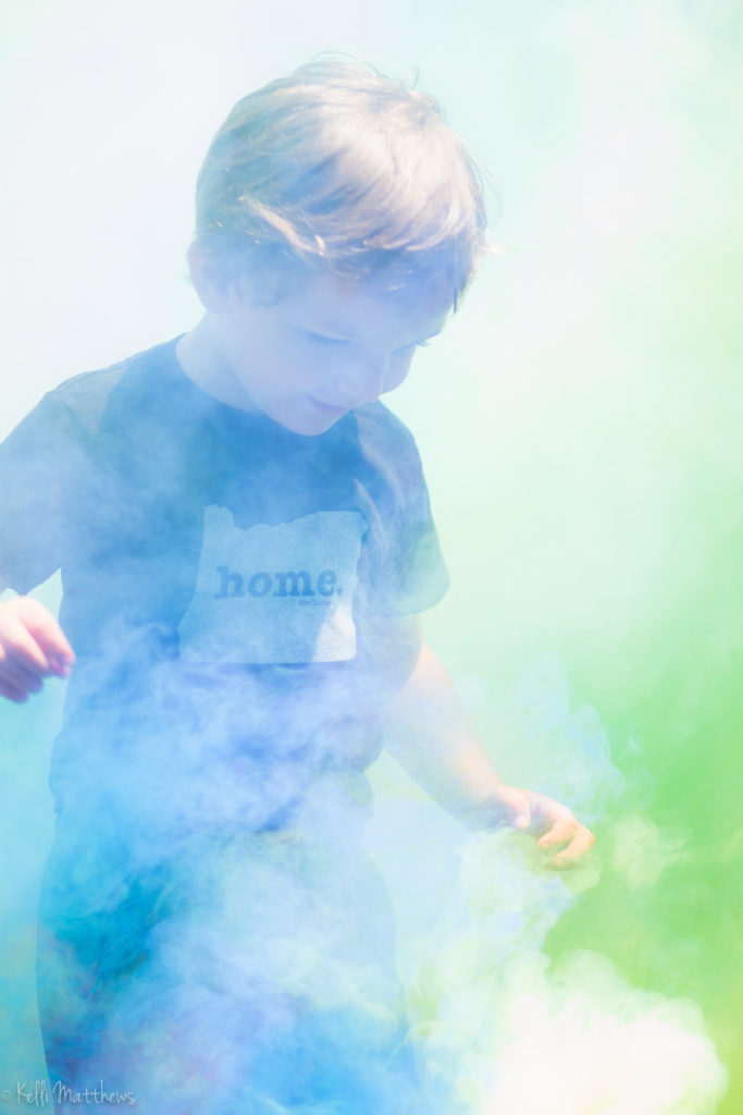 playing in smoke bomb smoke